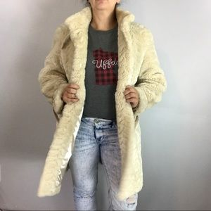 Incognita Cream Ivory Teddy Faux Fur long Jacket M